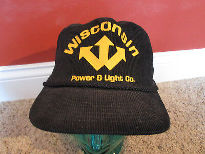 Vintage Wisconsin Power And Light Company Corduroy Black  Adjustable Hat Adult
