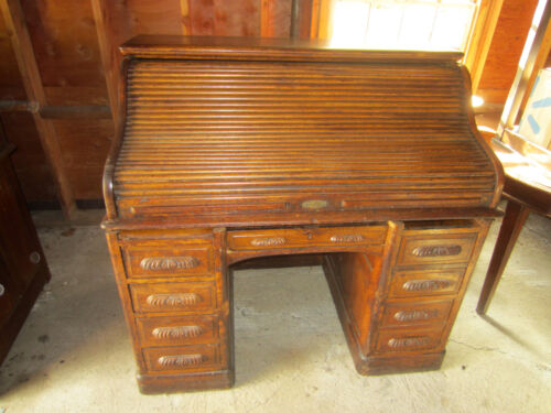 "Vintage Antique Raised panel S Curve Rolltop Desk, circa 1905, 50"" x 50"" x 32"""