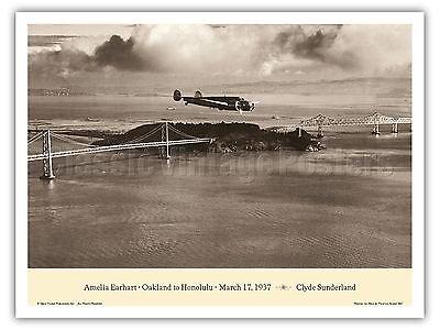 Amelia Earhart Oakland California to Honolulu Vintage Aviation Art Poster Print