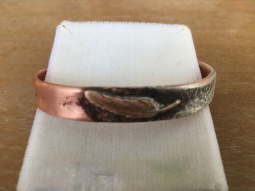 "Vintage Copper Silver Feather Bracelet Width 2 1/8"""