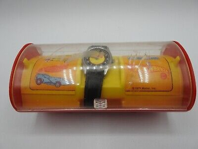 Hot Wheels Sports Wrist Watch #3062, Original Cast, Black Leather Band, 1971