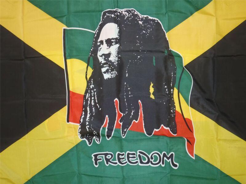 5 x 3Ft Giant Bob Marley Flag Rasta Reggae Roots Rastafarian Freedom Jamaica