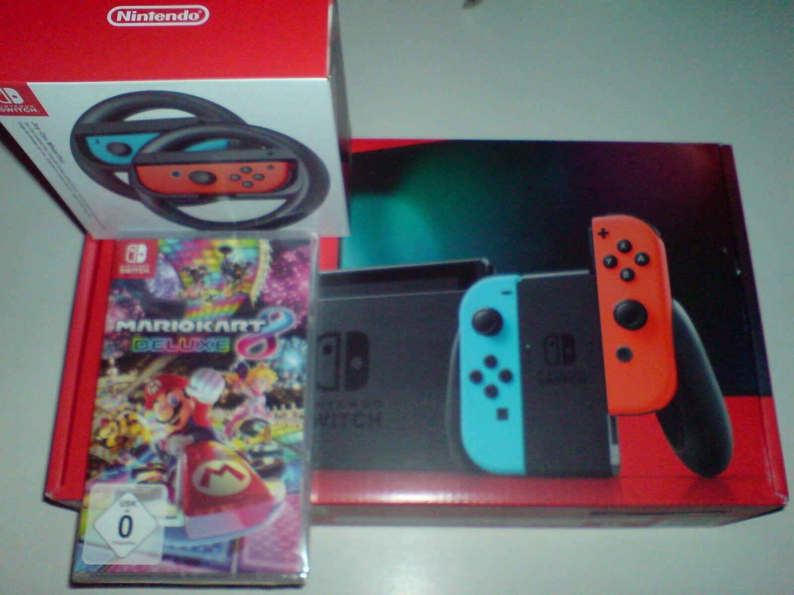 Nintendo Switch Konsole Neue Edition 2019 + Mario Kart 8 Deluxe + 2 Lenker  Neu