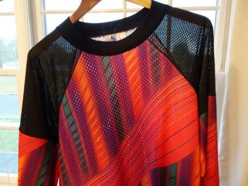 Vtg 90s Y2K Mesh Striped Geometric Vaporwave Rave Skate Streetwear Jersey Shirt
