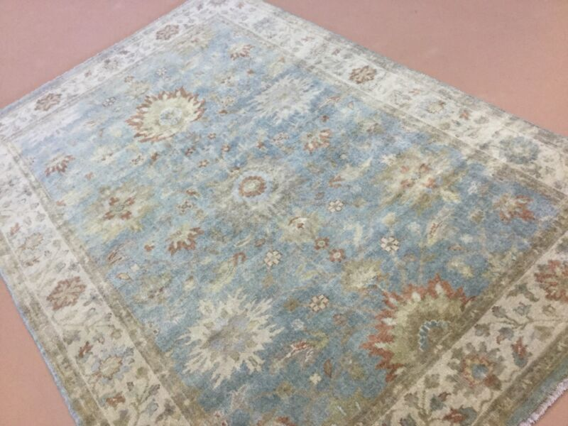 "Muted Light Blue Beige Oushak Persian Oriental Rug Hand Knotted 6'.1"" X 8'.9"""