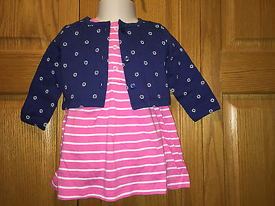 NWT CARTERS Infant Dress w/attached Diaper Cover & Jacket, Navy/Pink, 9 Mo, $24