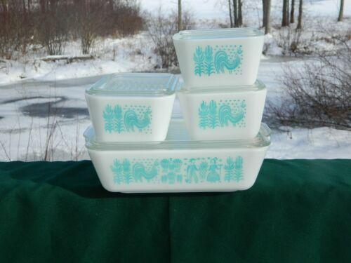 Pyrex AMISH BUTTERPRINT Pattern Refrigerator Dish Set Excellent - no chips