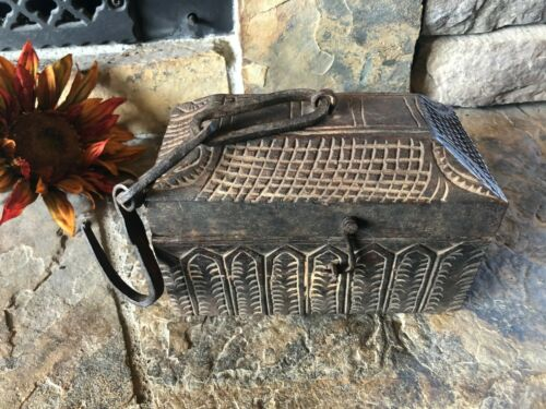 Unusual Hanging Primitive Folk Art  Carved Wooden Box, Hand Forged Iron, Early
