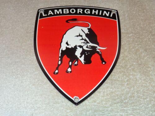 "VINTAGE LAMBORGHINI SPORTS CAR DEALERSHIP 9"" PORCELAIN METAL GASOLINE & OIL SIGN"