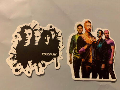 """Lot of 2 COLDPLAY 2"""" x 2""""  Band Logo Sticker Black White FAST! FREE!"""