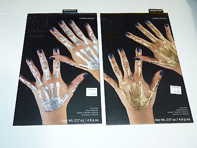 Gothic Club Skeleton Hand Bones Temporary Fake Tattoos Adult Costume Makeup lot - Halloween Club Makeup