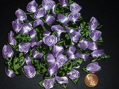 50 Satin Ribbon Roses -Lavender with Moss Green Leaf-Sewing Bow Craft- New ](Crafts With Leaves)