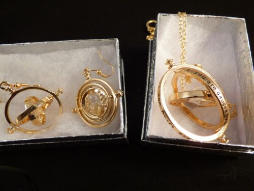 USA-2pc set Harry Potter,Time Turner,Necklace,& Time Turner earrings,