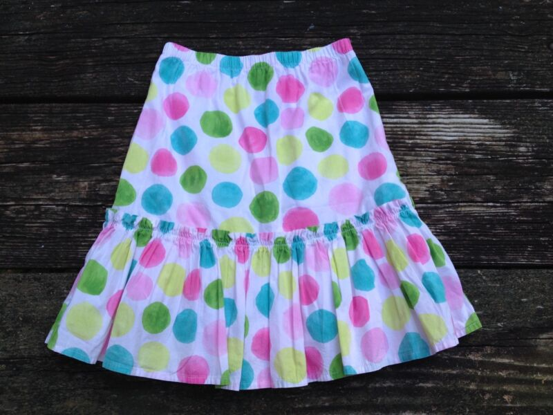 Gymboree Girls Flower Garden Pastel Polka Dot Skirt Size 8 Elastic Waist