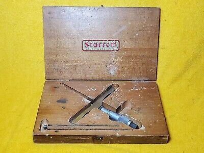 Starrett 455 Machinist 0 - 3 Micrometer Depth Gage In Wood Case Usa