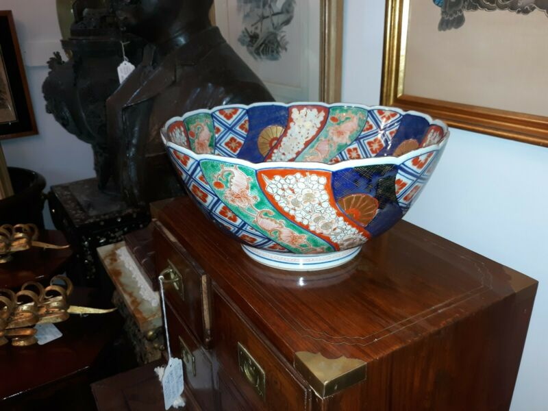Fine Large Antique Japanese Imari Porcelain Bowl w/ Unusual Mark