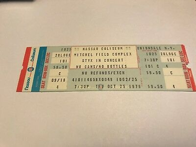 RARE STYX UNUSED CONCERT TICKET NASSAU COLISEUM NY  10/25/79