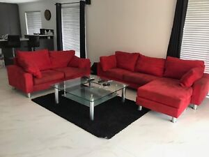 Red couch with chaise/ottoman