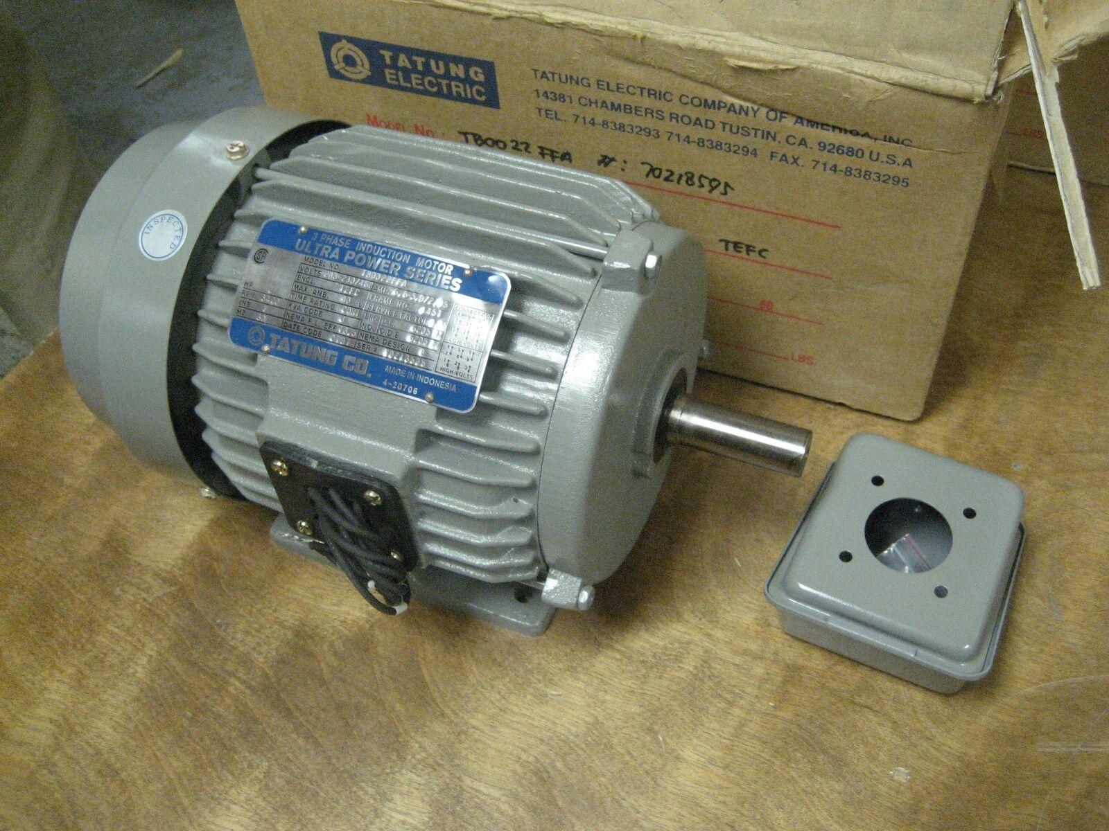 tatung electric 2hp ac motor tb0022ffa 208 230 460vac
