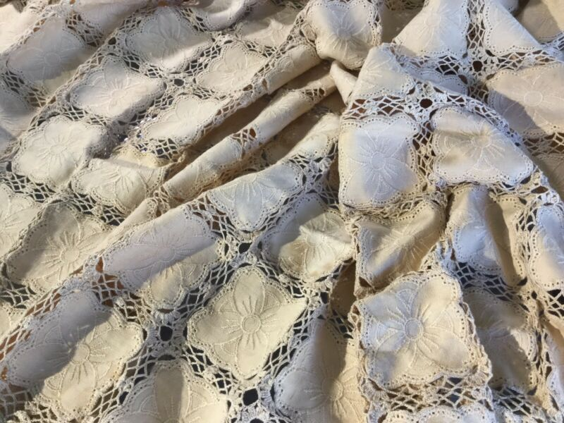 "Antique Vintage Crocheted Lace And Linen Table Cloth 76"" X 62"" Square Motif Ecru"