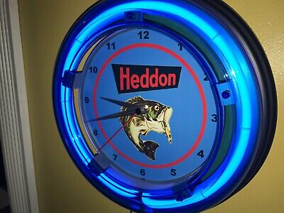 Heddon Fishing Lures Bait Shop Store Advertising Man Cave Neon Clock Sign