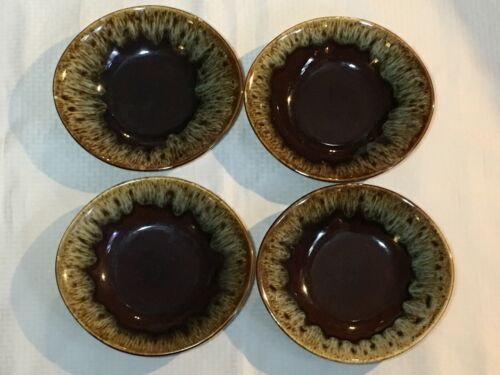 """4 Vintage Brown Drip Glaze """"Quaker Maid"""" Rawhide Lugged Cereal Soup Bowls"""