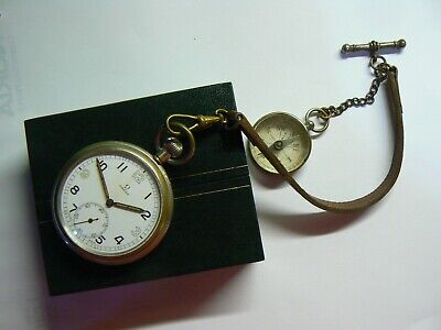 Rare Vintage 1939 British Army WW2 OMEGA Pocket Watch & Compass, Chain, Boxed
