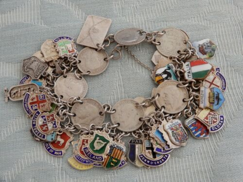 Vintage Silver Coin & Enamel ladies Charm Bracelet, 40+ charms, from old estate