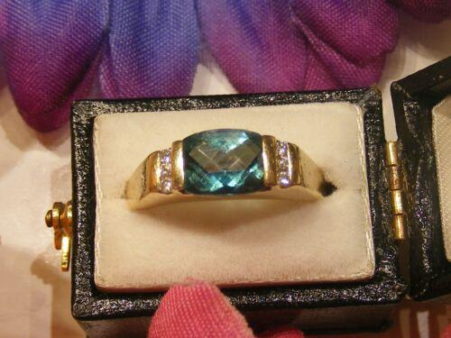 Vtg. 14k Yellow Gold Blue Zircon And Diamond Ring