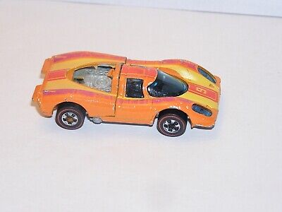 70s Hot Wheels Redline Porsche 917 METAL BASE FLYING COLORS ORIGINAL UPSIDE!