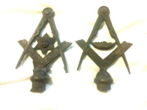 Two Vintage metal Masonic/Freemasonry Rod Tops (Finials)