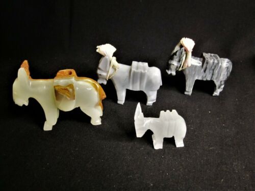 4 Vintage Hand Carved Natural Stone Onyx Donkey/ Mule Figures