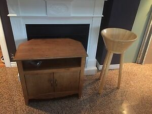 TV stand and table side salad bowl with stand