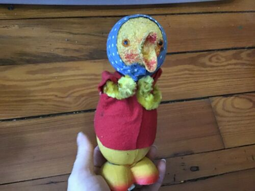 Vintage Paper Mache Papier-mâché and Chenille Easter Chick Chicken