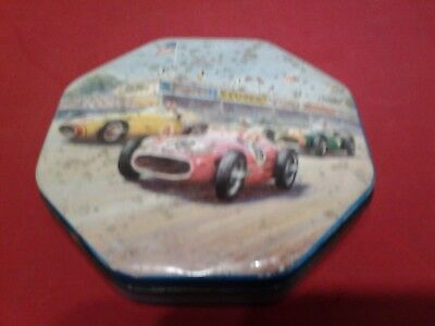 Vintage Auto Racing Race Cars Blue Bird Parkes Confectionary Toffee Tin
