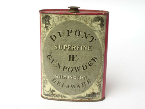 Antique Dupont Superfine Gunpowder Tin Litho Flask Wilmington Delaware - CO1