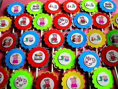 Peppa Pig Cupcake Decorations (30 Ct PEPPA PIG Cupcake Toppers Birthday Party Favors, Baby Shower Decor)