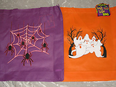 Trick or Treat Halloween Tote Bag Candy Ghosts Spiders Skull Orange Purple NEW!