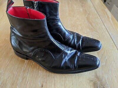 Jeffery West Flashman Uk Size 10 Black Zip-up Boots