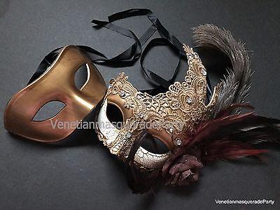 Brocade Lace Couple Masquerade Ball Mask Renaissance Costume Dress up Party - Couple Dress Up