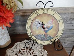 Rooster Counter/Table Top Clock With Attached Stand Rustic Country Farmhouse