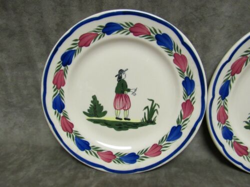 Vintage Syracuse China Restaurant Ware French Peasant Man Woman Plate Pair