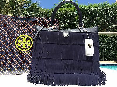 TORY BURCH FRINGE SUEDE LARGE TOTE TORY NAVY BLUE $595 NWT-WITH GIFTBAG-SOLD OUT