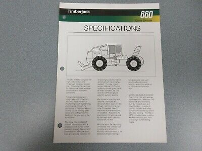 Timberjack 660 Cable Skidder Sales Sheet 2 Pages