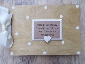 PERSONALISED VINTAGE FRIENDSHIP WOODEN SCRAPBOOK/PHOTO BOOK /MEMORIES