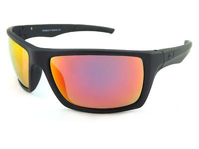 DIRTY DOG PRIMP 53535 POLARISED SUNGLASSES SATIN BLACK-FIRE RED FUSION  MIRROR