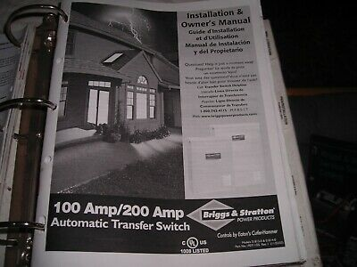 Cutler Hammer Briggs And Stratton Automatic Transfer Switch 100200 Amp Guide