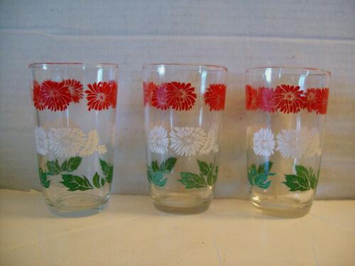 "3 Kraft Swanky Swig Glasses Bachelor Button Swankyswig 3 3/4"" red green white"