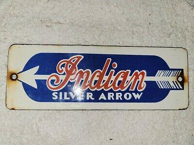 VINTAGE INDIAN MOTORCYCLES SILVER ARROW PORCELAIN SIGN HARLEY DAVIDSON