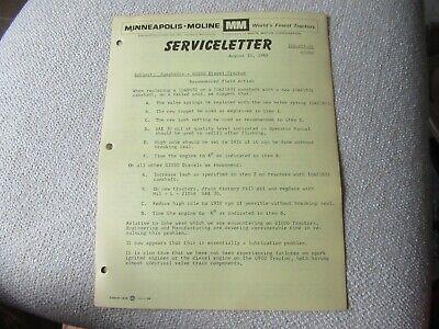 1968 Minneapolis Moline G1000 Tractor Camshafts Newsletter Brochure